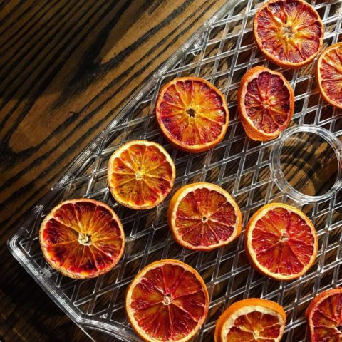 These are blood oranges being put into our dehydrator.